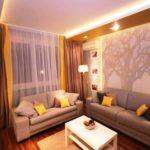Гостиная в трехкомнатной квартире 76,3 м²
