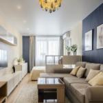Гостиная в однокомнатной квартире 38,1 м²