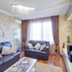 Гостиная в двухкомнатной квартире 57,1 м²